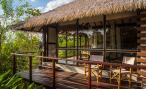The private villas are made with organic, natural materials